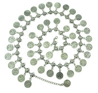 Gypsy Silver Metal Dangle Coins Belly Chains 43pieces coins Hippie Boho Bohemian Shimmy Belt bell dance belt chain body chain