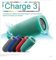 Wholesale Mini Logo Light - 10pcs  Charge 3 Splashproof Portable Wireless Bluetooth Loud Speaker High-quality 1200mAh 5W*2PCS LED Light  FM TF Card Powerbank with logo