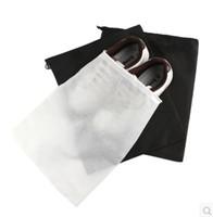 Wholesale Strands Shoes - 100pcs lot Travel shoes receive bag outdoor strand pocket Non-woven fabric dustproof shoe bag case black white 29*35cm HY573