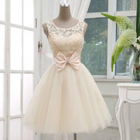 Wholesale Short Cream Wedding Dresses - Real Mini Wedding Dress Little Ball Gown Sheer Jewel Sleeveless Lace-up Back Bridal Gown Bow Beads Lovely Prom Dresses in Cream