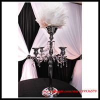 """Wholesale Crystal Arms - 10 pcs lot 29"""" gold &sliver 5 arm candelabra centerpiece with flower bowl for wedding decor"""