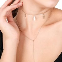 Wholesale Vintage Sweaters For Women - Vintage cross pendants multilayer long necklaces for women simple fashion two layers sweater necklaces jewelry accessories