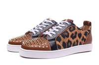 Barato Sapato De Fundo Vermelho-Marca de luxo Red Bottom Sneakers Gold Suede com Spikes Casual Mens Womens Shoes Brown Skin of Low Leopard Skin Trainers Calçado Flat Shoes