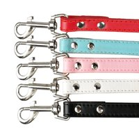 """Wholesale Leather Dog Leads - 48"""" 120cm Total length Soft PU Leather Walking Dog Pet Leashes Leads 5 Colors"""