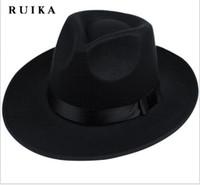 Wholesale Chapeau Femme - Wholesale-star wide brim sombreros bowler hoeden maison men vintage black winter chapeu chapeau feutre woolen womens fedoras chapeau femme