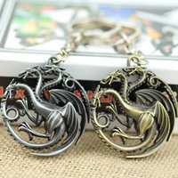 Wholesale Silver House Pendant - 2015 New Fashion Statement Pendant keychain HBO Game of Thrones House Targarye Blood and fire 3D Keychain Keyring