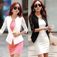 beyaz blazerler ince kadın sığacak toptan satış-2014 Yeni Seksi Şeffaf Dantel Blazer Bayanlar Suit Giyim Kadın OL Resmi Slim Fit Blazer Siyah Beyaz Sml