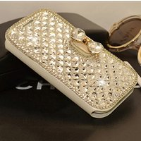 Wholesale Crystal Bowknot Iphone - Luxury Bling Bowknot Crystal Diamond Wallet Flip Case Cover For iP h one Samn sung