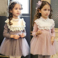 Wholesale Tulle Full Length Ball Gowns - Everweekend Kids Girls Ruffles Lace Tutu Sweet Princess Dress Western Baby Girls Lovely Tulle Children Dress Clothing