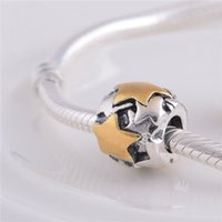 LW026 Desconto de marca 925 Sterling Silver Charms Screw Thread Vintage Retro 14K Gold Five Star Circle Beads Fit for Pandora Bracelets Jewelry