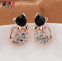 Wholesale Diamond Bow Studs - 2015 Hot! Korea exquisite jewelry cute cat in the end of high imitation jewelry wholesale diamond bow earrings female ex-works