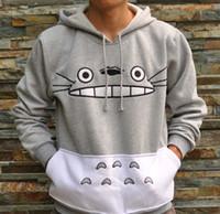 Wholesale Anime Sportswear - 3D Mall Autumn Japanese Totoro Cartoon Anime Cosplay Costume Sportswear Women Men Sweatshirt Hoodies with pocket Gray Color