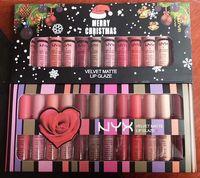 Wholesale Whitening Lip Gloss - 2017 Christmas gift NYX SOFT MATTE LIP CREAM nyx 12PCS Set Lipstick Lip Gloss Matte No Fading Sofe Velvet Lip Makeup 12 colors set