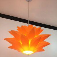 Wholesale Modern White Pvc Pendant Lamp - flowers lamp pendant light material of PVC 58CM lotus shape DIY lampshade bedroom shops droplight hanging light fixture