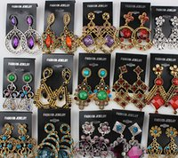 Wholesale Vintage Enamel Brass - Fashion women big earrings vintage dangle chandelier pendants earring stud charm jewelry colorful Boutique hoop Christmas