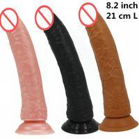 dong anal femenino al por mayor-21 cm gran polla sexo real consolador falso pene largo dong realista polla artificial masturbación femenina juguetes productos del sexo para adultos para mujeres