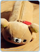 Wholesale San X Stationery - Wholesale-4PCS LOT Kawaii SAN-X Sentimental Rilakkuma Bear Stationery Plush 24*9CM Pen Pencil BAG Coin Cash Purse & Wallet Pouch BAG