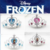 Wholesale Frozen Children Girls Crowns Anna Elsa Tiara Princess Crowns Heart Shape Tiaras Baby Party Hair Accessories Pageant Hairbands Chrismas Gift