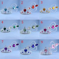Wholesale Magic Wand Free Dhl - DHL Free Girls Frozen Fever crown+Magic Wand 2 pcs suit 2015 new elsa anna gem crown Magic Wand 9 color B001
