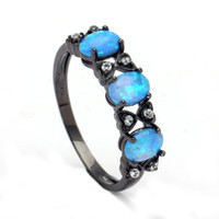 Wholesale Wedding Jewelry Sets Royal Blue - Opal Rings for Women royal blue natural stone Ring Opals Black gold-color Sales Fashion Jewelry Wedding engagement finger ring