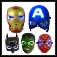 Wholesale Spiderman Birthday - new hot LED Glowing Light Mask Superhero SpiderMan Captain America Hulk Iron Man Mask For Kids Adults Party Halloween Birthday