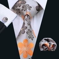 Wholesale Neckties Pocket Squares - Yellow Floral Silk Mens Tie Set Pocket Square Cufflinks Classic Silk Jacquard Woven Wedding Business Casual Necktie N-1016