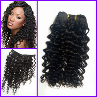 Virgin Mongol Human Hair Deep wave Deep Curly Clip In Hair Extensions For Black Woman afro cabelo humano G-EASY