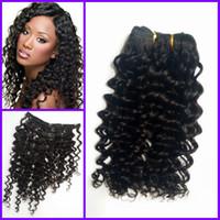 Wholesale Virgin Hair Deep Wave Clips - Virgin Mongolian Human Hair deep wave deep Curly Clip In Hair Extensions For Black Woman afro human hair G-EASY