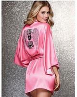 Wholesale Angels Pajamas - 2016 new Ms. sexy silk long-sleeved silk pajamas peach pink angel wings diamond drilling hot nightgown bathrobe shipping