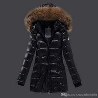 Wholesale Designer Jacket Fur - Winter Down Jackets Women m Brand Designer Long monclair Hoody with Fur Casual Slim ladies cold Parka Warm Fashion Outwear Top Coat