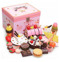 Wholesale Girls Play Kitchen - Wholesale-Baby Toys Mother Garden Wooden Chocolate Cake Mix Set Wooden Kitchen Pretend play Toys birthday Gift for girls factory wholesale