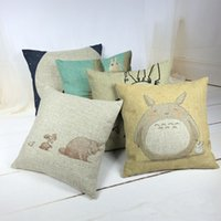 Wholesale pure linen bedding - 2016 Hot Sale Pillow Cover Pure Cotton Linen Home Bed Decorative Vintage Throw Pillow Cases Retro Totoro Art LP012221