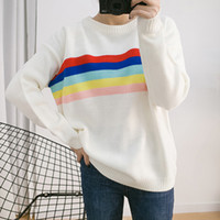 Wholesale rainbow stripe sweater - Wholesale- Fashion all-match autumn and winter new women 's rainbow color stripes round neck long sleeve loose loose sweater