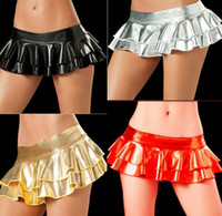 Wholesale Sexiest Mini Dresses - Women Sexiest lingerie pole dancing mini skirt latex pvc vinyl dress erotic cospaly Patent leather shiny metallic skirt ruffle dance skirt