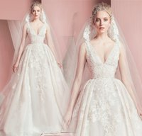 Wholesale Zuhair Murad Designer Wedding Dresses - Zuhair Murad 2016 Spring Princess Wedding Dresses Sexy Deep V Neck Sleeveless Lace Low Back Court Train Designer Bridal Gowns Custom