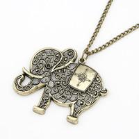 ordenar ropa al por mayor-(La orden mínima es de $ 10, orden mixto) Moda colgante de elefante vintage de la manera ropa larga collar de la joyería para las mujeres