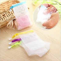 Wholesale Colorful Handmade Bag - New colorful Silk ribbon Foaming net household Face cleaning net handmade soap bag Convenient Bubble net YYA935