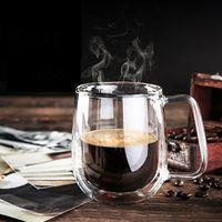 Wholesale Transparent Coffee Set - Coffee Cups Set Tea Mugs Handmade Creative Beer Drink a Mug of Office Mug Transparent Drinkware Double Glass Cups