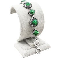 Wholesale Malachite Antique - Wholesale-Vintage Look Tibet Alloy Antique Silver Plated Round And Rhombus Malachite Bead Double Layer Bracelet TB150