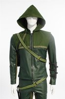 Wholesale Green Leather Jackets For Men - 2015 Green Arrow Cosplay Costumes Superhero for men leather jacket leather pants Oliver Queen men Carnival costume