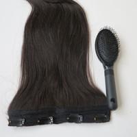 siyah saçlar için taraklar toptan satış-80g 20 22 inç Brezilyalı Klip saç Uzatma 100% humann saç # 1B / Kapalı Siyah Remy Düz Saç örgüleri 1 adet / takım ücretsiz tarak