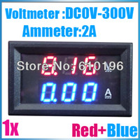 Wholesale Measure Dc Current - Wholesale-2in1 DC 300V 2A Red Blue Two Color Display Digital Voltmeter Ammeter voltammeter Current Measure Gauge