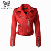 Wholesale Ladies Leather Jackets Sale - Wholesale- AORRYVLA Fashion Suede Faux Leather Jacket For Women Autumn 2017 Turn-Down Colors Zippers Motorcycle Lady Coat Hot Sale AO-371
