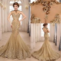 Wholesale Modern Beauty - 2015 Luxury Mermaid Evening Dresses Backless Court Train Sequin Sheer Neck See Through Formal Prom Dress Beauty Queen Pageant Dress Gowns