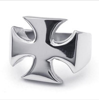 Wholesale mens cross rings - Wholesale-Free shipping!Brand NEW Fashion Jewelry Titanium Stainless Steel Mens Silver Cross Ring USA Size 8,9,10,11,12,13,14,15(R3391)