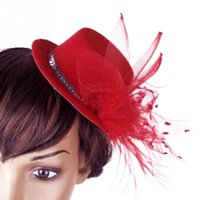 Wholesale Burlesque Hats - Wholesale-Hot Fashion Cute Womens Ladies Girl Hair Clip Burlesque Punk Mini Hat Design Red CS1201503