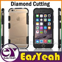 Wholesale Iphone Case Cut - Cool Diamond Cutting Impact Defender TPU Bumper Back Cover Case Shockproof Armor For iPhone 6 Plus Samsung Galaxy S6