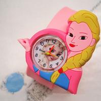 Wholesale Pink Slap Bracelet - New Frozen Children Slap watch Boys Girls Cute Cartoon Slap Snap Rubber princess Elas Anna Bracelet Wrist Watch Electronic Toys Holiday