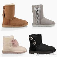 Wholesale Bow Rain Boot - 2017 New Snow Boots Bow Australia Fashion Women Winter Boot Bailey Xmas Ladies Bowknot Outdoor Shoes U Warm Christmas UG Low Boots