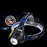 phare projecteur lampe zoom réglable achat en gros de-Projecteur LED Aluminium XM-L L2 / T6 Zoom Led Phare Lampe de poche Réglable Lampe frontale 18650 Batterie Lampe frontale
